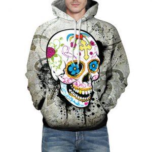 Mens 3D Skulls Pattern Printed Casual Hoodies-Newchic-