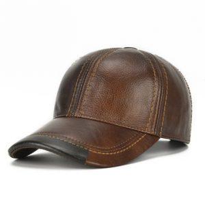 Mens Cowhide Leather Baseball Cap-Newchic-