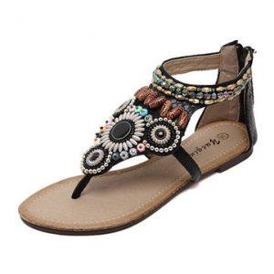 Beaded Bohemia Rhinestone Clip Toe Zipper Flat Sandals-Newchic-