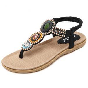 Big Size Bohemia Bead Slip On Flat Beach Sandals-Newchic-Black