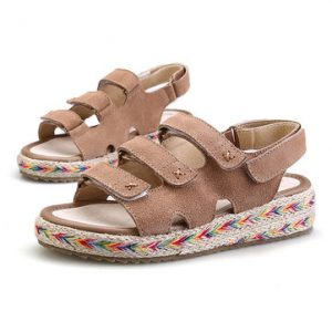 Big Size Leather Hook Loop Peep Toe Platform Sandals-Newchic-Multicolor