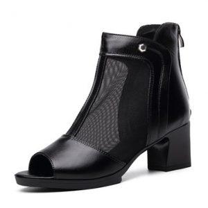 Black Leather Mesh Peep Toe Zipper Buckle Breathable Ankel Chunky Heel Sandals-Newchic-Black