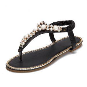 Bohemia Beaded Clip Toe Elastic Band Flat Sandals-Newchic-Multicolor