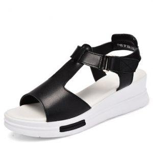 Leather Hollow Out Hook Loop Peep Toe Buckle Wedge Heel Platform Sandals-Newchic-Multicolor
