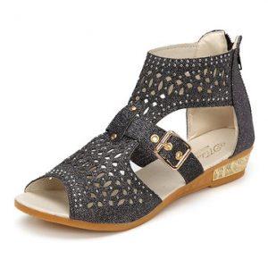 Peep Toe Rhinestone Hollow Out Wedges Zipper Roman Sandals-Newchic-Multicolor