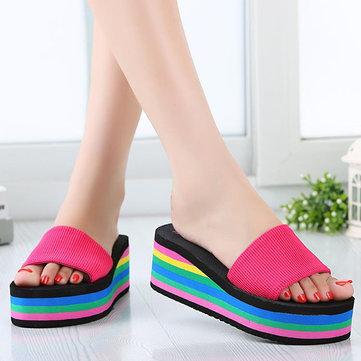 Colorful Rainbow EVA Peep Toe Platform Slip On Beach Slippers-Newchic-Multicolor