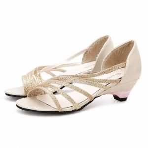 Fashion Bling Shiny Stripe Roman Low Heel Summer Sexy Sandals-Newchic-Multicolor