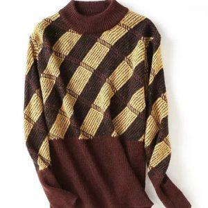 Plaid Print Patchwork Women Sweaters-Newchic-