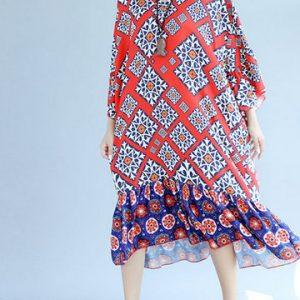 Women Printed Chiffon Dresses-Newchic-