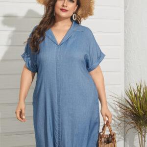 YOINS Plus Size V-neck Short Sleeves Midi Dress-