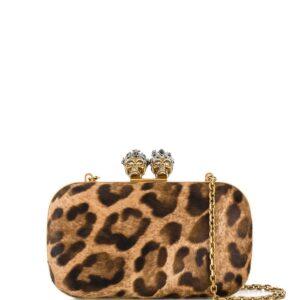 Alexander McQueen King Queen leopard clutch - Neutrals-