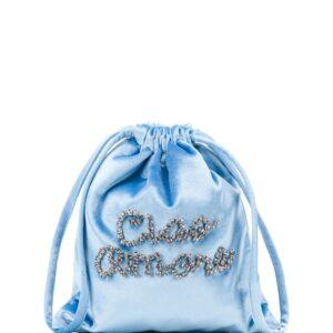 Giada Benincasa drawstring crystal-embellished clutch - Blue-