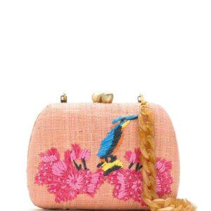 SERPUI embroidered raffia clutch - PINK-