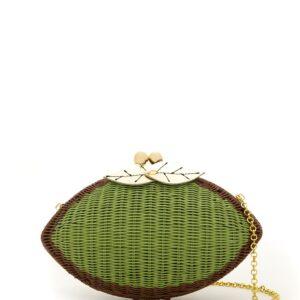 SERPUI wicker clutch - Green-