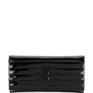 Saint Laurent quilted flap clutch - Black-