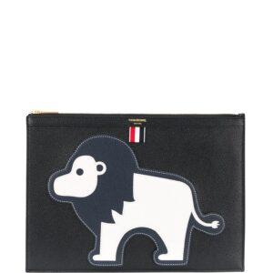 Thom Browne animal appliqué clutch - Black-