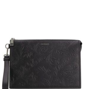 Versace logo embossed clutch - Black-