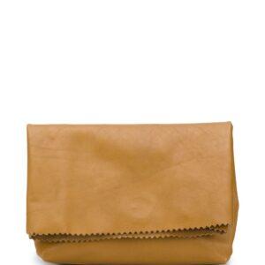 Vetements foldover paper bag clutch - Neutrals-