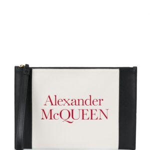 Alexander McQueen logo-embossed leather clutch - White