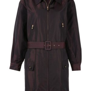 Chanel Pre-Owned 1980s belted zip-up coat - Brown