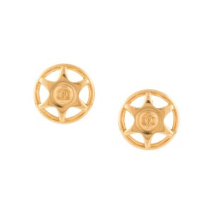 Chanel Pre-Owned 1997 CC logos button earrings - GOLD