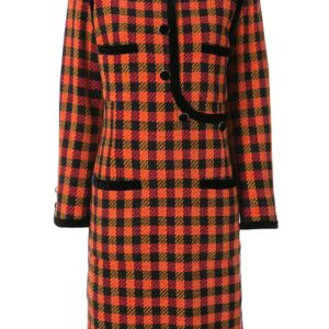 Chanel Pre-Owned tartan check dress - ORANGE