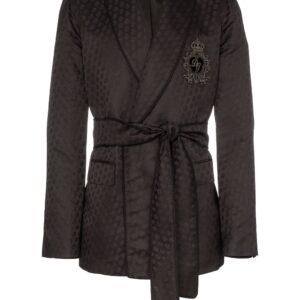 Dolce & Gabbana logo-embroidered silk jacquard jacket - Black