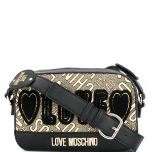 Love Moschino Love embroidered shoulder bag - Black