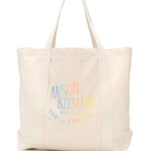 Maison Kitsuné rainbow logo print tote bag - Black