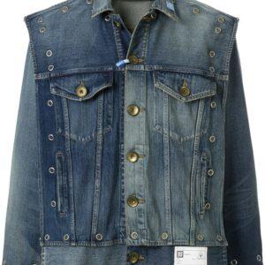 Maison Mihara Yasuhiro studded layered denim jacket - Blue