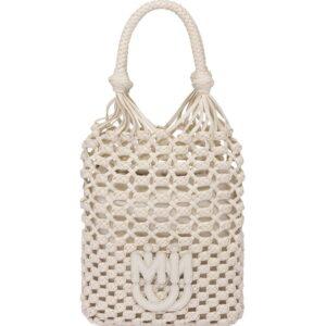 Miu Miu macramé drawstring tote bag - White