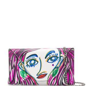 Moschino doodle face crossbody bag - PURPLE