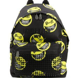 Philipp Plein smile print studded backpack - Black