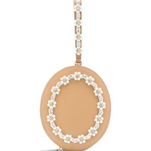 Simone Rocha bead-embellished oval clutch - NEUTRALS
