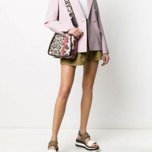 Stella McCartney leopard print shoulder bag - Brown