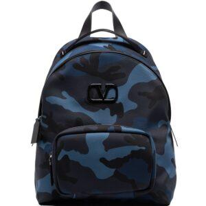 Valentino Garavani camouflage-print backpack - Blue