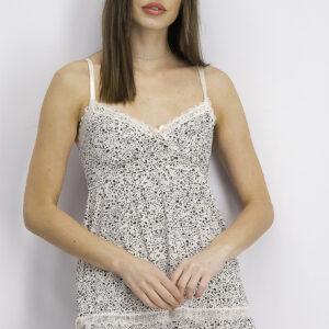 Womens 2 Pc Lace Hem Sleepwear Set Vanilla Animal