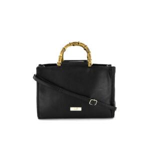 Womens Bamboo Handle Satchel Bag 23 H x 33 L x 11 W cm Black