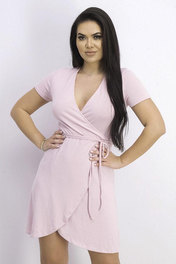 Womens Belted Surplice Mini Dress Pink