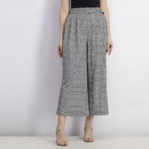 Womens Belted Wide Leg Pants Grey/Black/White