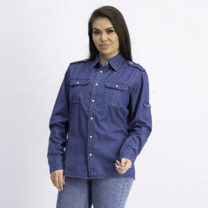 Womens Button Pocket Front Tops Dark Denim