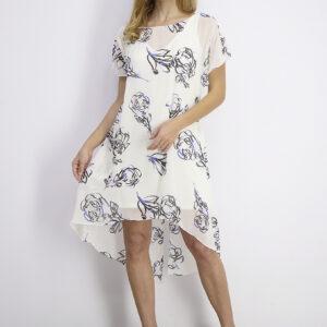Womens Chiffon-Overlay Dress Ivory