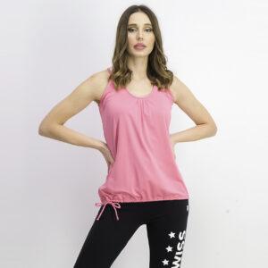 Womens Drawstring Hem Sleeveless Top Shocking Pink/White