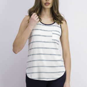 Womens Egan One Pocket Knit Top White Combo