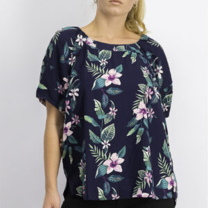 Womens Floral Print Top Navy Combo