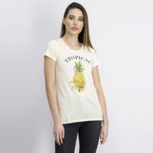 Womens Graphic Print Pineapple Top Yellow Combo