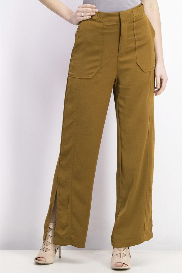Womens High Waist Trouser Brown