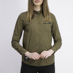 Womens Long Sleeve Roll Up Shirt Dark Olive