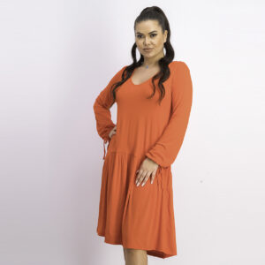 Womens Long Sleeve Swing Dress Red