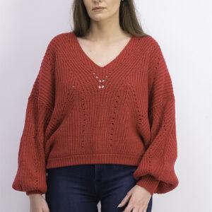 Womens Long Sleeve V Neck Sweater Fuego Rosa